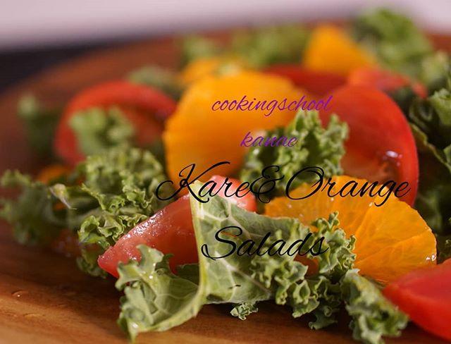 ケールと清美オレンジのサラダサラダ用なの?ケールが全然苦くない旨味があるおいしいお野菜ですアブラナ科ブロッコリーとかの仲間らしい納得あとは味噌チーズおにぎりとか♫